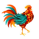 Chinese 2017 New Year Symbol Rooster. Chinese 2017 New Year Symbol - Rooster. Vector illustration. Colorful Bird with Beautiful Feathers Stock Images