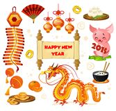 Chinese New year symbols set isolated on white background. Carto stock illustration