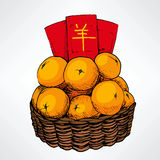 Chinese New Year Tangerine Basket Stock Photography