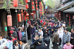 Chinese New Year Temple Fair in jinli Stock Photos