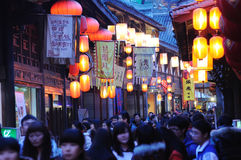 Chinese New Year Temple Fair in jinli Royalty Free Stock Photo
