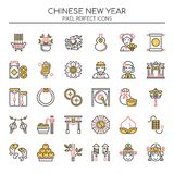 Chinese New Year Elements , Thin Line and Pixel Perfect Icons Royalty Free Stock Image