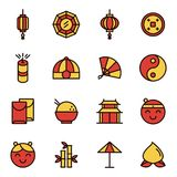 Chinese New Year Icons. Chinese New Year. Thin outline flat design icons Stock Photography