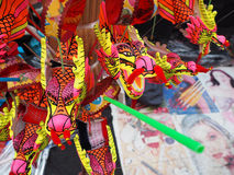 Chinese New Year Toys, Closeup of Dancing Dragon on festive back Stock Photography