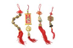 Chinese New Year Trinkets. On White Background royalty free stock image