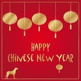 Chinese New Year vector background. With golden lanterns Vector Illustration