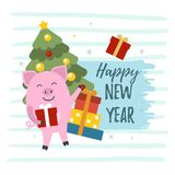 2019 chinese new year. Vector illustration of 2019. Symbol of Chinese New Year 2019. Cute pigs, gift boxes and christmas tree illustrations with Happy New Year stock illustration
