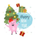 2019 chinese new year. Vector illustration of 2019. Symbol of Chinese New Year 2019. Cute pigs, gift boxes and christmas tree illustrations with Happy New Year royalty free illustration