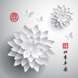Chinese New Year. Vector Paper Graphic of Lotus. Royalty Free Stock Images