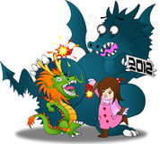 Chinese new year vs. Zodiac year 2012 !!. The symbol of these festivals are dragons. However, even the gigantic 2012 dragon can't resist the joy of a LITTLE Stock Photo