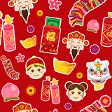 Chinese New Year Wallpaper Seamless Pattern Background. A vector illustration of Chinese New Year Wallpaper Seamless Pattern Background Stock Image