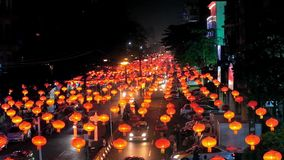 Chinese New Year in Yangon, Myanmar. Chinese New Year celebration in Chinatown of Yangon - evening Maha Bandula road is illuminated with multiple red lanterns stock footage