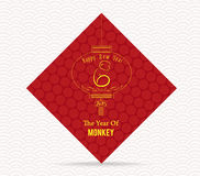Chinese New Year 2016. Year of monkey card.  Royalty Free Stock Image