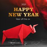 Chinese new year 2021 year of the ox , red. Bull on black background.