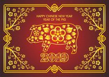 Chinese New Year 2019 - Year of Pig. Card design Stock Images