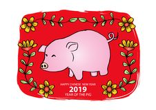 Chinese New Year 2019. Year of the pig. Red background