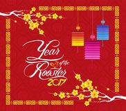 Chinese new year 2017. Year of  the Rooster Background Royalty Free Stock Photography