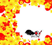 Chinese new year. The year of rooster and cherry blossom. Year of the dog Royalty Free Stock Images