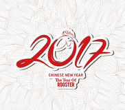Chinese new year. The year of rooster. Flower sketch doodle background Stock Image