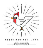 Chinese new year 2017, Year of rooster. Symbol  on white background, Modern line design, Vector illustration Stock Image