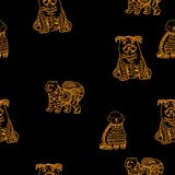 2018 chinese new year of yellow dog seamless pattern with golden  paw track, template for calendar, poster, banner. 2018 chinese new year of yellow dog seamless Royalty Free Stock Photo