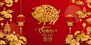 Chinese new year 2019 Zodiac sign with paper cut art and craft style on color Background.Chinese Translation : Year of the pig. Chinese new year 2019 Zodiac sign stock illustration