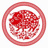 Chinese new year 2019 Zodiac sign with paper cut art and craft style on color Background.Chinese Translation : Year of the pig. Chinese new year 2019 Zodiac sign royalty free illustration