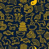 Chinese new year zodiac signs pattern background. Chinese lunar zodiac animals and holiday celebration symbols for Chinese New Year. Vector seamless pattern stock illustration