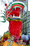 Chinese New Years. Paris, France, Street Scene, French Men in Traditional Costumes Dragon Dance in Chinese new years Carnival in Street in the Chinatown Area. PS Royalty Free Stock Images