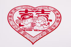 Chinese newlyweds paper-cut Stock Photography