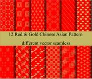 12 Chinese nieuwe het jaar Aziatische achtergrond van Red&Gold royalty-vrije illustratie