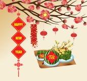 Chinese nieuwe jaar achtergrond bloeiende sakuratakken, Vietnamees nieuw jaar vertaling Stock Foto's