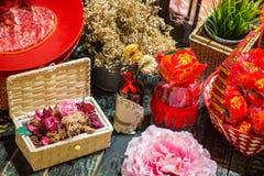 Chinese nieuwe jaargroet en decoratie Stock Foto's