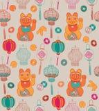 Chinese nieuwe jaarkaart, lantaarns en gelukkige kat Stock Afbeelding