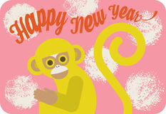 Chinese nieuwe jaarkaart met leuke beeldverhaalaap, het van letters voorzien en geweven cirkels op roze achtergrond Royalty-vrije Stock Foto's