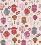 Chinese Nieuwe jaarsymbolen Naadloos patroon Royalty-vrije Stock Fotografie