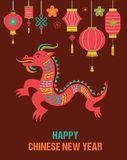 Chinese Nieuwjaarachtergrond met rode draak Royalty-vrije Stock Foto's