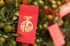 Chinese Nieuwjaardecoratie met lantaarns en enveloppen stock fotografie