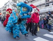 Chinese Nieuwjaarparade - het Jaar van de Hond 2018 royalty-vrije stock afbeeldingen