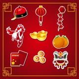 Chinese Nieuwjaarpictogrammen Stock Foto