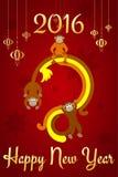 Chinese Nieuwjaarprentbriefkaar Stock Afbeelding