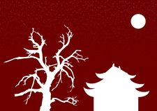 Chinese night. Chinese architecture and old tree under the moon on the red background with the stars Royalty Free Stock Photography