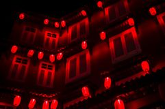 A Chinese Night: red lanterns in the dark stock photo