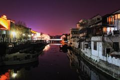 chinese night view in jiangnan stock photography