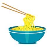 Chinese noedels en eetstokjes royalty-vrije illustratie