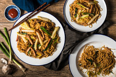 Chinese Noedels met Varkensvlees, Napa-Kool, en Groene Ui Stock Afbeeldingen