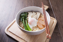 Chinese noodle with Chinese kale, egg, sausage, mushroom Stock Images