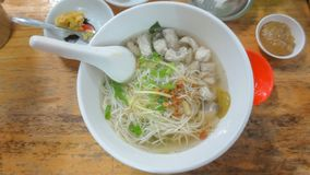 Chinese noodle with sea bass at chinese restaurant. At Thailand stock images