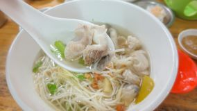 Chinese noodle with sea bass at chinese restaurant. At Thailand royalty free stock photography