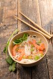 Chinese noodle and shrimp. Bowl of chinese noodle and shrimp Royalty Free Stock Photography